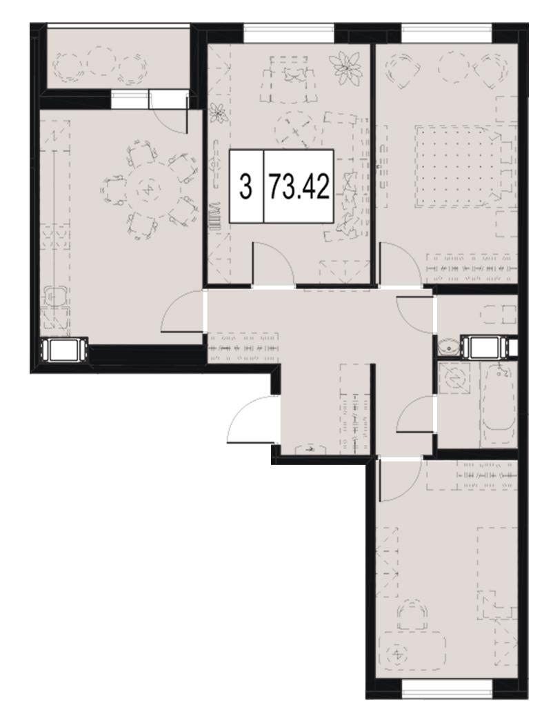 Планировка Трёхкомнатная квартира площадью 73.42 кв.м в ЖК «ID Murino»