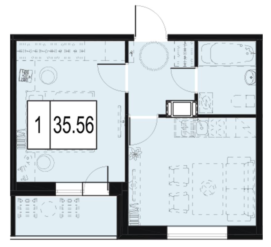 Планировка Однокомнатная квартира площадью 35.91 кв.м в ЖК «ID Murino»