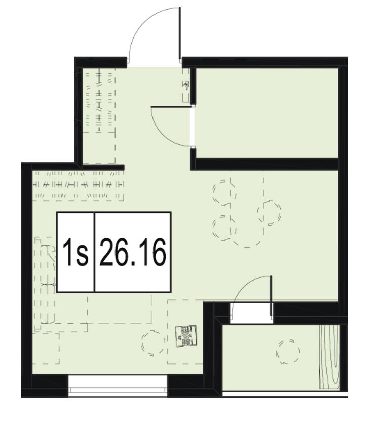 Планировка Студия площадью 26.16 кв.м в ЖК «ID Murino»