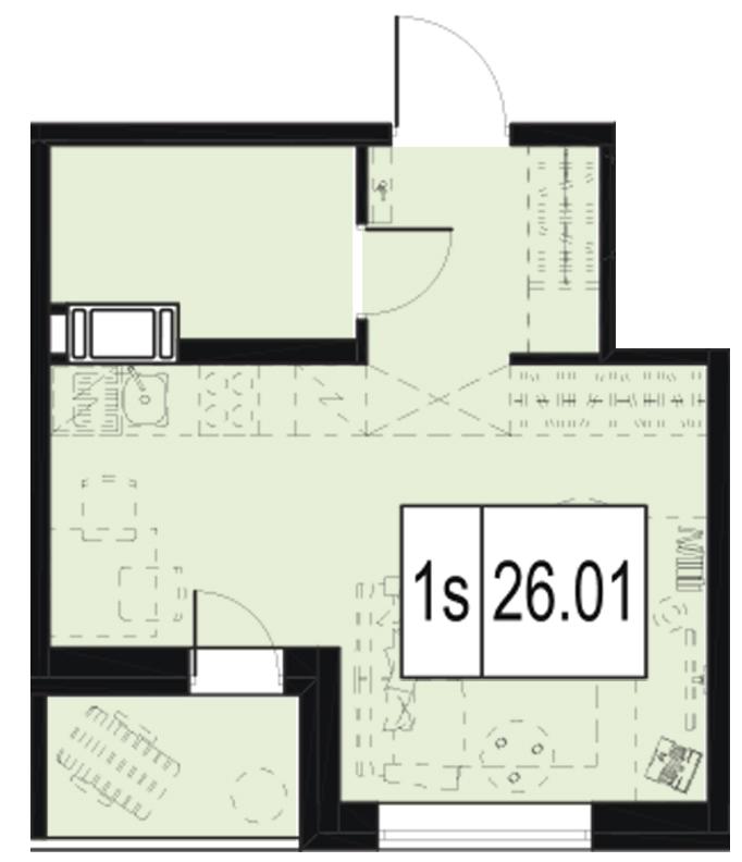 Планировка Студия площадью 26.01 кв.м в ЖК «ID Murino»