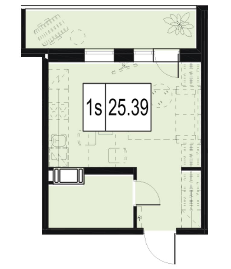 Планировка Студия площадью 25.39 кв.м в ЖК «ID Murino»