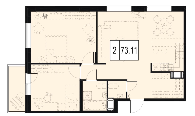 Планировка Двухкомнатная квартира площадью 73.11 кв.м в ЖК «ID Murino»