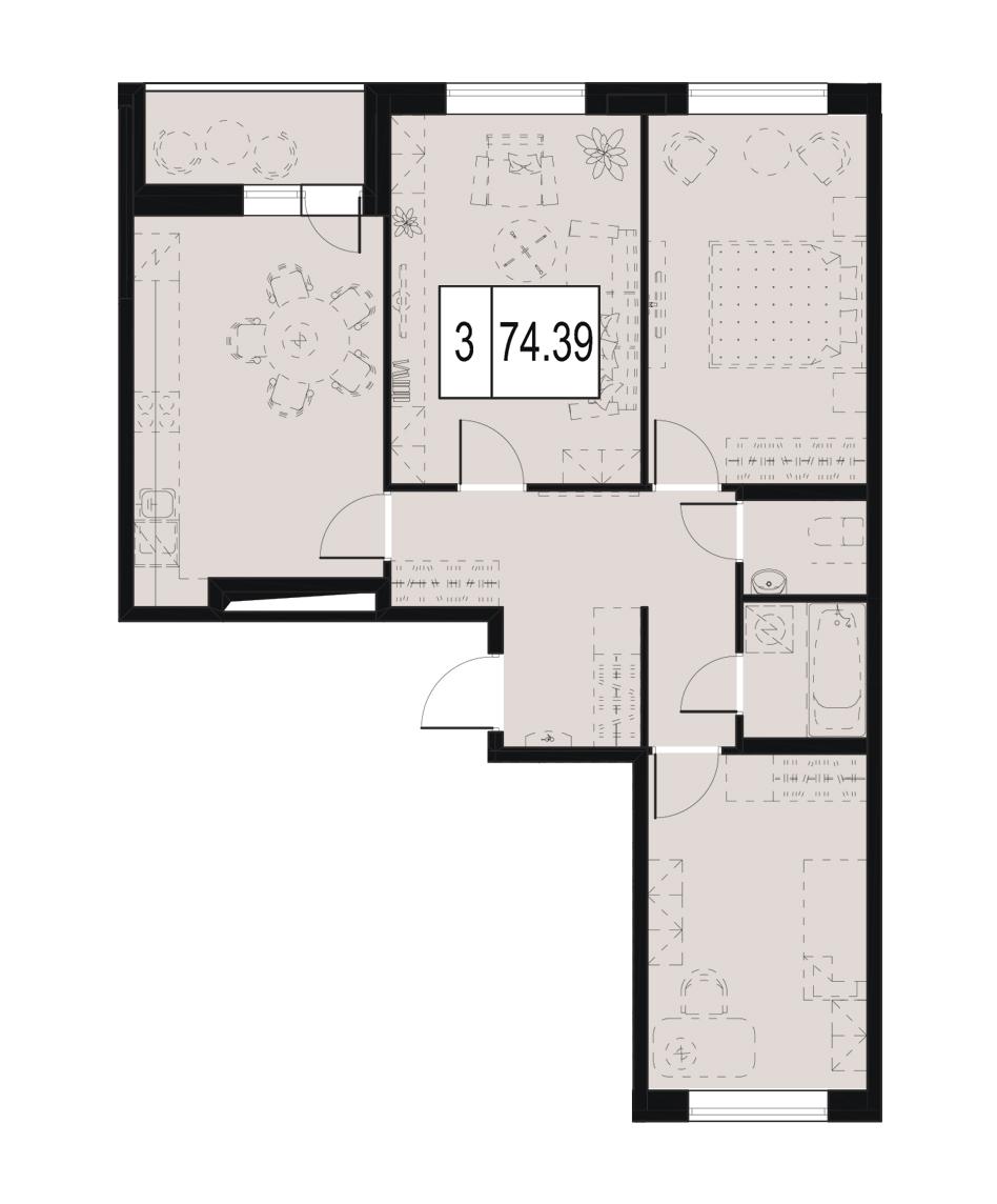 Планировка Трёхкомнатная квартира площадью 74.39 кв.м в ЖК «ID Murino»