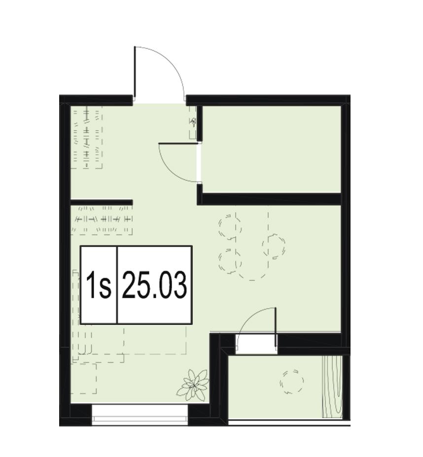Планировка Студия площадью 25.03 кв.м в ЖК «ID Murino»