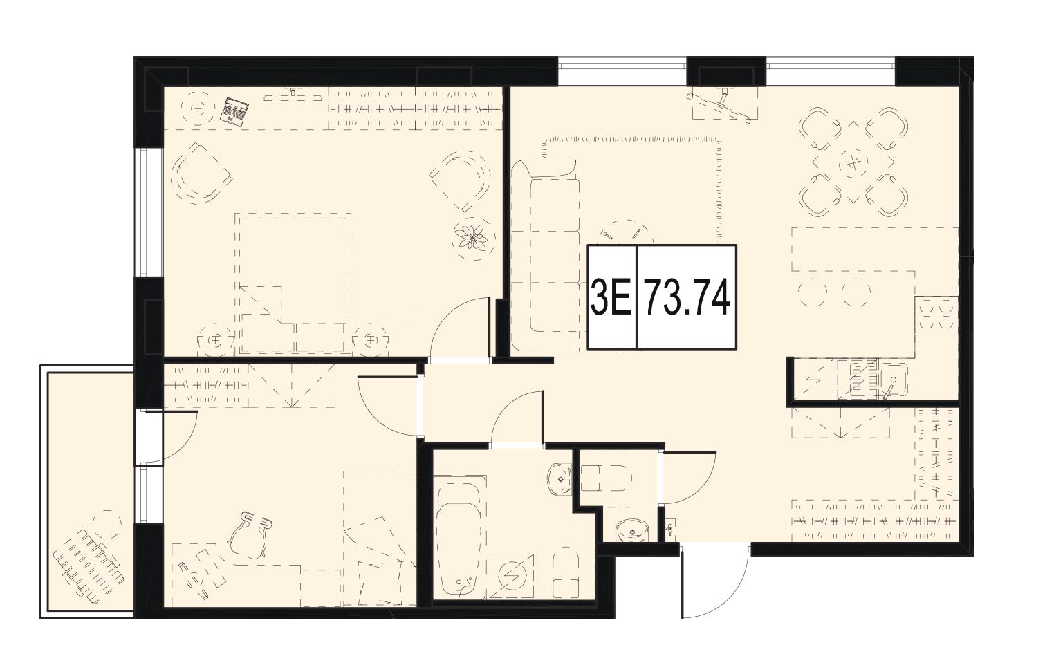 Планировка Двухкомнатная квартира площадью 73.74 кв.м в ЖК «ID Murino»