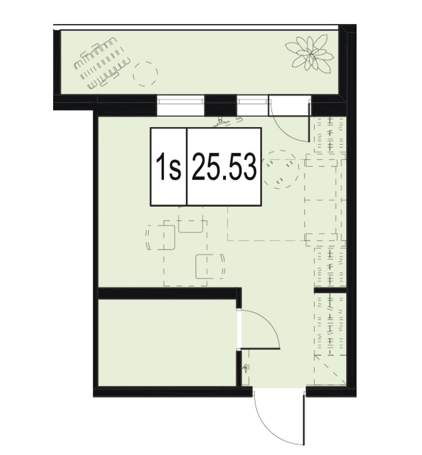 Планировка Студия площадью 25.53 кв.м в ЖК «ID Murino»